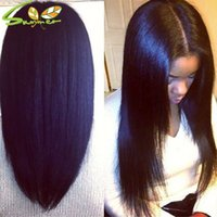 Wholesale Cheap Italian Lace Front Wigs - Cheap Human Hair Wig Italian Yaki Full Lace Wig With Baby Hair For Black Women Brazilian Human Hair Yaki Straight Lace Front Wig