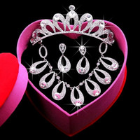 best hair pictures - tiaras Crystal Earbob Crystal Necklace Exquisite packaging Best Selling Bride jewelry Real Pictures Have in stock