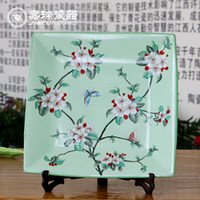 Ceramics antique chinese paintings - Antique Chinese hand painted Square Ceramic Hanging Wall Plate Floral Birds Pattern home decorations ornaments