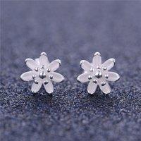 custom made jewelry - luxury Fine Brand Stud Post Silver Flower Earring No50 custom made European women stud Jewelry FE254