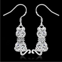 Wholesale European and American fashion jewelry sterling silver with double drill cat earrings