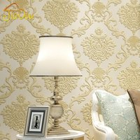 Wholesale European Damascus Non woven Wallpaper D Embossed Flower Wall Covering Bedroom Living Room Sofa Background Wall Paper For Walls