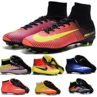 Wholesale 100 Original JR MERCURIAL SUPERFLY V FG AG Children Big Kids Boys Girls Womens SOCCER CLEAT Boots Football Shoes MAGISTAX HYPERVENOM Mens