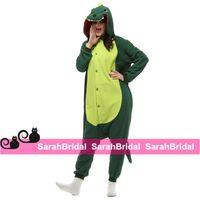 animal pajamas for adults - Green Dinosaur Anime Cartoon Cosplay Costumes Comfy Leisure Animal Onesies Pajamas Jumpsuit for Teens Adults Mens Womens Tail Homewear Cheap