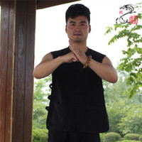 Wholesale Cotton sleeveless kungfu Vest clothing male old coarse summer Chinese national tang suit Tops tai chi wushu shirt