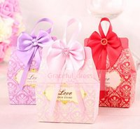Cheap 2016 Hot Sale Romantic Candy Boxes Bow Ribbon Purple Pink Red Favor Holders For Wedding Gifts Holders Box Supplies In Stock 50pcs lot BB861