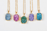 best octagons - Octagon Rectangl Shape Rainbow Agate Druzy Geode Stone jewelry Necklace Natural Druzy Stone Necklace Best Gift for Women NG421
