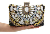 beaded kit bags - Vintage Beaded Evening Clutch Bag Wedding Bridal Handbag Crystal Rhinestone Purse Wallet Shoulder Chain Metal Hard Box Black Makeup Kit Gift