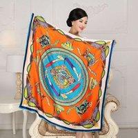 Cheap 2016 Promotion Hijab 108cm*108cm Large Square Silk Scarf Fashion Printed Shawl Winter Scarves Sunscreen Satin Female Wrap Sc024