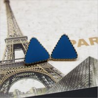 Wholesale Fashion Jewelry golden hot Charm earring for women love Retro copper alloy k earring Stud Drip black blue triangles Piece