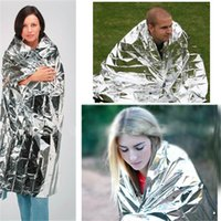 Wholesale 210 CM Water proof Emergency Blanket Survival Rescue Insulation Curtain Outdoor Life saving Military Silvery Outdoor Pads Hiking Campin
