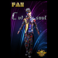 bar jacket - Hot New Bars Nightclubs Male Singer Male DJ Graffiti Fluorescent Jackets four piece Costumes Stage Leisure Suit