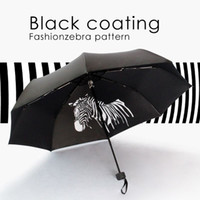 automatic plastic materials - three folding umbrella male and female uv zebra pattern sunshade black coating quality material hard windproof