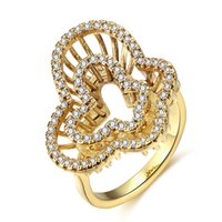 Wholesale New personality women rings Double Butterfly shaped hollow diamond gold colors