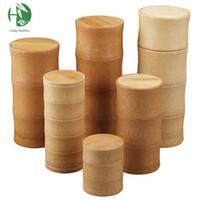 al por mayor eco bamboo-Al por mayor - frasco caja de té cajas caja de bambú caja de té de la cocina para guardar el té tarro sellado caddie botella de almacenamiento caso hecho a mano organizador de especias
