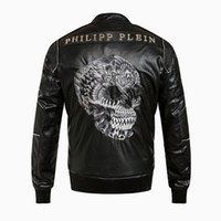 big men motorcycle jackets - New Design Autumn Fashion PHILIPP PLEN Men s PP Embroidery Big Skull Motorcycle Leather Jacket Coat M XL