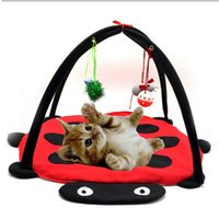 bee dog toy - Foldable Pet Cat Dog Playing Tent Cloth Material Activity Bed Pad Mat Cute Blanket Toy House Bells Beatles Dot Bee