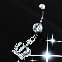 Wholesale Hot Hot Chic Navel Belly Button Ring Crown Rhinestone Crystal Piercing Body Jewelry