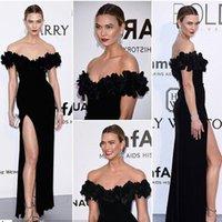 Precio de Alfombra roja del hombro fuera-Los vestidos de la celebridad de la alfombra roja de Cannes 2016 3D Floral Karlie Kloss fuera del hombro vestidos de noche Split alta