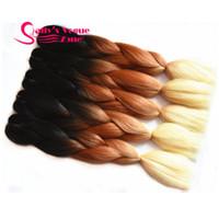 Wholesale Ombre Synthetic Braiding Hair Afro Kinky Kanekalon Hair Extension Jumbo Braids Tone Black Brown Blonde Hair Bulk for Braiding
