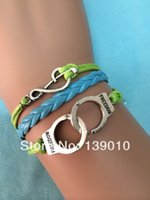 achat en gros de bijoux menottes pour les hommes-Hot New Tressé Bleu Grean Cuir Corde Plaqué Argent Musical Bracelet populaire européen Femmes Hommes Menottes Charm Jewelry
