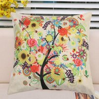 Wholesale Summer Flowrs and Little Tree Printed Linen Cushion Cover
