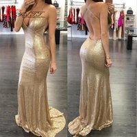 Wholesale Mermaid Gold Evening Dresses Strapless Bling V neck Backless Sleeveless Court Train Formal Cheap Prom Dresses Eobe De Party Gowns
