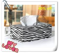Wholesale Guaranteed quality Zebra tissue box leather table paper napkin holder decorative tissue box cover tissue case holder