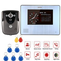 Wholesale Sd Card Voice Recording - Color Touch Scree Videon Door Phone with PIR Record Intercom System RFID Keyfob IR Camera Support 32G SD Card