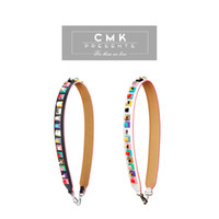 colorful handbags - CMK KST002 Colorful Brick Women Real Leather Handbag Strap Replacement Silver Hardware You with Solid Flowers Shoulder Stripe Replacement