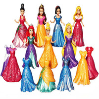 anime statues figures - 8CM Magic Clip Princess Magiclip Snow White Dress Aurora Statue Cinderella Anime PVC Action Figures Dolls Figurines Kids Toys
