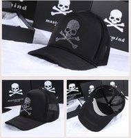 baseball netting - 2016 Japan mastermind MMJ Baseball cap Rhinestone Net cap Hot drilling Skull Peaked cap Sun hat for Men women lovers Ball cap