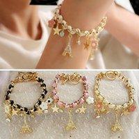 achat en gros de cuir rose bracelet fleur-Paris Tour Eiffel en cuir pentacle Mode Bijoux Femmes étoiles Flower Briller bracelet en cristal de poker bracelet Noir Blanc Rose Livraison gratuite