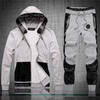 Wholesale hot sell pp New arrivial philip pleinn men s leather stitch skull sports suits Mens fashion Hedging with hat tracksuits