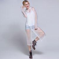 Wholesale Fashion Women EVA Transparent Raincoat Poncho Portable Light Raincoat NOT Disposable Rain Coat For Adult