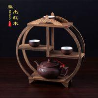 antique wooden swing - Wooden round antique shelf mahogany ornaments shelf grade desktop solid wood teapot swing frame