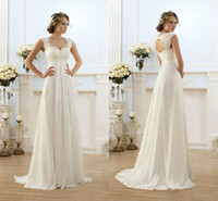 Wholesale Summer Beach Chiffon A Line Backless Wedding Dresses Empire Waist Rustic Boho Wedding Lace Straps Plus Size Maternity Bride Dress