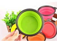 Wholesale New Style Silicone Folding Dog Cat Pet Feed Food Feeder Travel Portable Bowl Candy Colors Environmental Friendly
