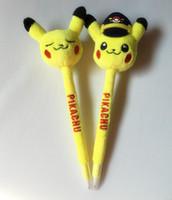 Wholesale 20CM Poke Pikachu cartoons plush dolls ball point pen stationery Students write office pen E293