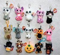 Wholesale 50pcs HOT sale inch super soft TY beanie boos Plush Toys keychain simulation animal TY Stuffed Animals Pendant Keychain D813