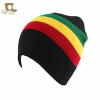 Wholesale Stripe Beanie Knit Warm Cap Winter striped knitted rasta rast hat