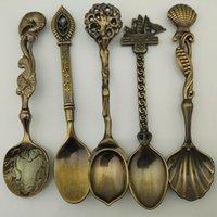 Wholesale New Retro Spoon Set Halloween decoration Spoons Restaurant Dinnerware Sets Bronze Small Coffee Ladle DHL for set