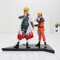 Wholesale 2pcs set Japanese anime figures naruto Doll Namikaze Minato Uzumaki Naruto pvc Action Figure Toy approx cm