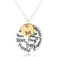 initial charms - 2016 Hot Sell Two Tone quot Be quot Graffiti Initial Charm Necklace quot Be quot Graffiti Friend Brave Happy Strong Thankfull Charm Pendant Necklaces