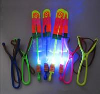Wholesale LED flying arrow light slingshot Amazing colorful kids toys led flash toys children gift flashing Helicopter