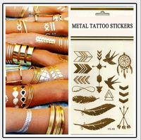 venda por atacado metallic tattoo jewelry-Tatuagem temporária Tatuagem de ouro Tatuagens de Flash Folha Tatoos Metálico Sexy Produtos jóias Henna Tatoo Body Art tatuagem adesivos 14 * 25 centímetros