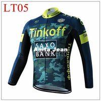 achat en gros de armée maillot xl-2015 Tinkoff armée de banque de saxo à manches longues Maillot cyclisme vélos Bike Spring Outdoor Automne Sportswear Tissu Zippered respirante