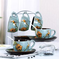 Wholesale 6sets home use Coffee cup ceramic Creative China style hand painting spring bird pattern ml breakfast milk tea mugs business gift