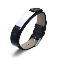 belt buckles blanks - Custom Engrave Stainless Steel Blank Metal ID Tag Adjustable Leather Bracelet with Belt Buckle