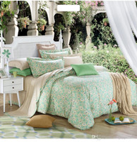 Wholesale Green world combed cotton Bedding set lady nature health Duvet Covers Set